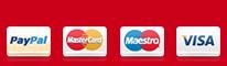 Pagamenti accettati PayPal, Carta di Credito, Visa, MasterCard